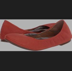 Lucky Brand red leather emmie scrunchie flats 10